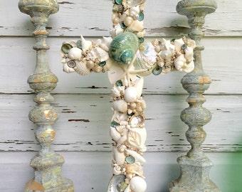 Wedding Altar Cross/Seashell Cross/Beach Wedding Cross/Reclaimed Wooden Cross/Tiffany Blue Wedding Decor