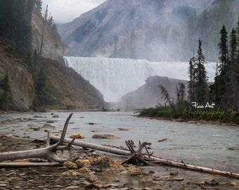 Wapta Falls - Yoho National Park. British Columbia, Canada. Alberta Original fineart Waterfall Landscape Digital Painting / Photo