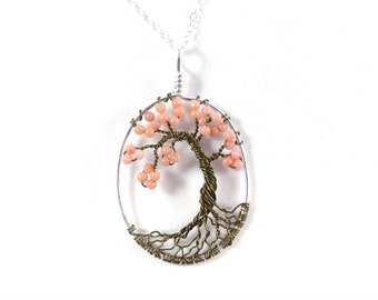 Blossoms-OOAK Pink Cherry Tree of Life Necklace in Pink Coral