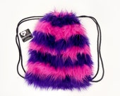 Cheshire cat inspired backpack faux fur drawstring bag