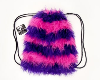 Cheshire cat inspired backpack faux fur drawstring bag made to order