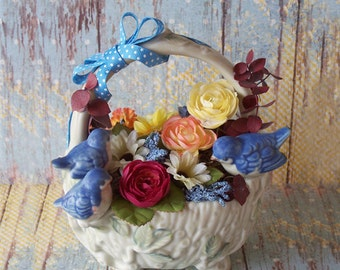 Delightful Floral Arrangement in a Cute Ceramic Basket with Bluebirds One of a Kind