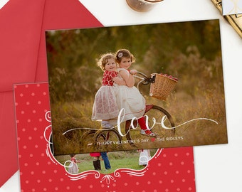 Valentine's Day Card Template, Valentine's Day Card for Photoshop, Holiday Card Templates, Photography Templates VD118