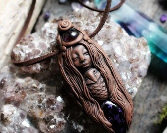 Little Owl Spirit Animal with Amethyst and Dichroic Glass Necklace. Shamanic Animal Totem Necklace