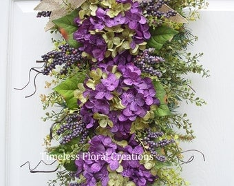 "Fall~Hydrangea Wreath Swag, Front Door~Winter, Spring, Summer, Fall~ Floral Swag, ""Elderberry Wine"", for your door, Timeless"
