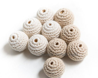 """Crochet beads 5 PCS 3/4"""" 20 mm Ivory Beige Wooden crochet cotton beads Crocheted bead Round beads Necklaces"""