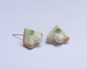 Food Jewelry Key Lime Pie Earrings, Miniature Food Stud, Mini Food Jewellery, Key Lime Pie Charm, Pie Jewelry Slice of pie Polymer Clay food