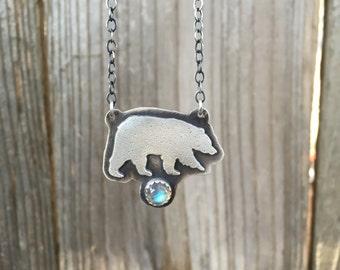 Silver Bear Necklace with Labradorite - Bear necklace - Sterling Silver Bear Necklace - Silver Bear Pendant