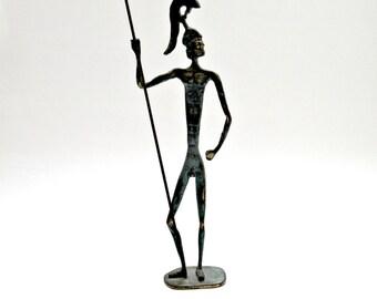 Large Mid-Century Ancient Greek Warrior Figurine Sculpture