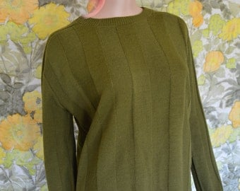 Moss Green Sweater - 1960's knit sweater - cable knit sweater -ribbed sweater - green ski sweater