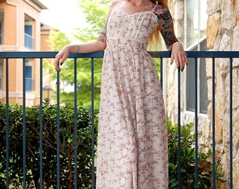 70's Vintage Gunne Sax Prairie Lace Heart-shaped Bodice Tank Maxi Dress // Women's size XS X Small S