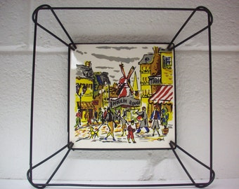 MOULIN ROUGE PARIS Trivet Boizenburg Tile Wire Wall Hanging Montemarte Made in Germany