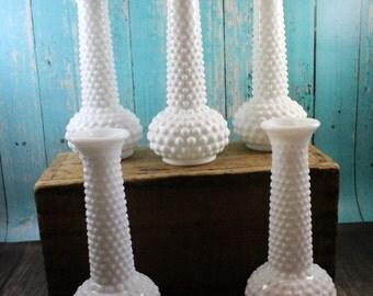 5 Hobnail Milk Glass Vases, EO Brody, Centerpiece, Bud Vases, Decor,Tablescape, wedding, shower, shabby chic, mid century, vintage