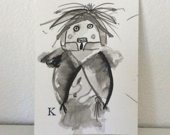 """Original outsider art brush and ink drawing """"Kachina"""" 4""""x 6"""""""