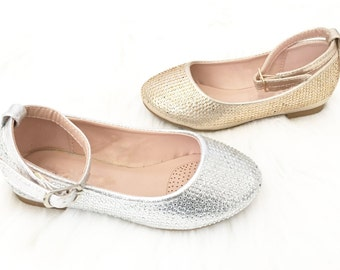 SALE! Kids Girls shoes- Rhinestone ballet flats with ankle straps perfect for weddings, princess, fairy, flower girls, frozen, costumes