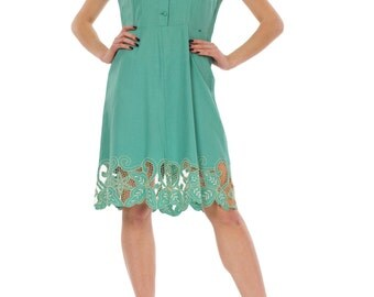 1950s Turquoise Embroidered Cut Out Crochet Detail Buttoned Front Linen Midi Dress Size 4/S