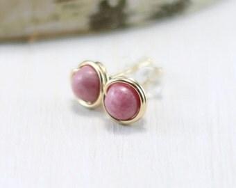 Rhodonite Earrings, 14k Gold Filled Pink Stone Earrings Yellow Gold Rhodonite Stud Earrings Wire Wrapped Post Earrings