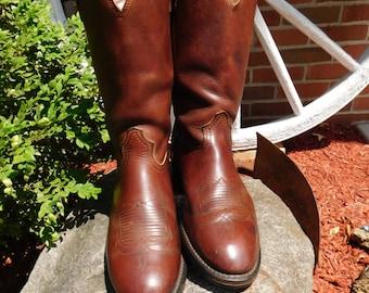 Vintage Men's Durango Brown Leather Farm & Ranch Boots - size 10D - from DustyMillerAntiques