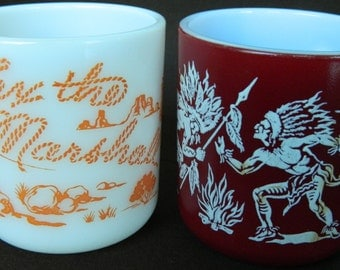 Hazel Atlas Child's Milk Glass Mugs, Tex the Marshall, Indians, 1950s. Very Good Vintage Condition