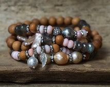 Boho Bracelet Stack, Pearl Bracelet, Opal Bracelet, Angel Bracelet, Labradorite Bracelet, Tahitian Pearl, Baroque Pearl, Set of Five, Boho