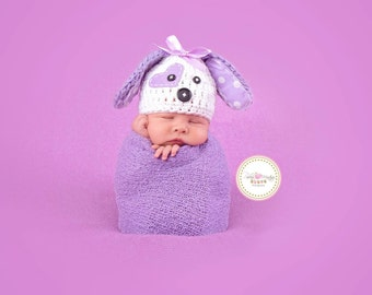Puppy love Hat purple puppy girl Newborn girl hat, baby girl, valentines photo prop- White and Purple - puppy hat baby - Made to Order