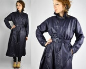 GIVENCHY Trench Coat / Rain Coat / Blue Metallic Trench Coat / Vintage Trench Coat / High End Designer Givenchy Nouvelle Boutique size S - M