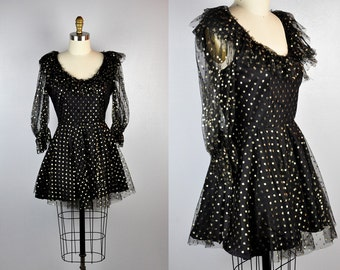 80s MINI Dress Pleated Dress Black with Gold Polka Dots Ruffled neck Ruffled Sleeves Goth Disco Party Mini Dress size S - M