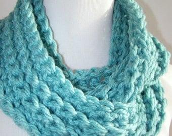 Crochet Cowl Infinity Scarf Turquoise Unisex Neck Warmer