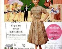 1952 Vivian Blaine Springmaid Fabrics & Canada Dry Liquor Ad Old Hollywood Fashion Skirts Ahoy Movie Poster Guys and Dolls Broadway Wall Art
