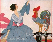 1918 Vogue Cover Digital Print July American Fashion Helen Dryden Printable Wall Decor Download Colonial Farmhouse Rooster Last Minute Gift