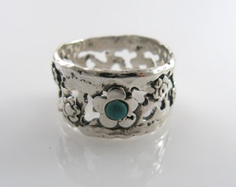 Turquoise ring. Sterling silver ring. Floral turquoise ring. Floral ring. Wide ring. (sr9503). birthday gift for her, turquoise jewelry