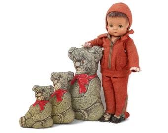 DECO ERA Patsy Ann Composition Doll All Original w/Rare Orange Snowsuit