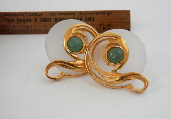 Inna Cytrine PARIS Earrings Frosted Lucite Retro 80s French Designer Jewelry