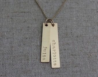 Personalized Gold Name Necklace - Two Hand Stamped Rectangle Name Bars - Mother's Necklace