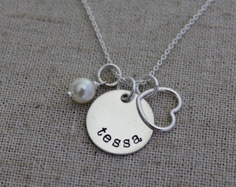 Personalized Necklace - Hand Stamped Name Charm - Mother's Necklace