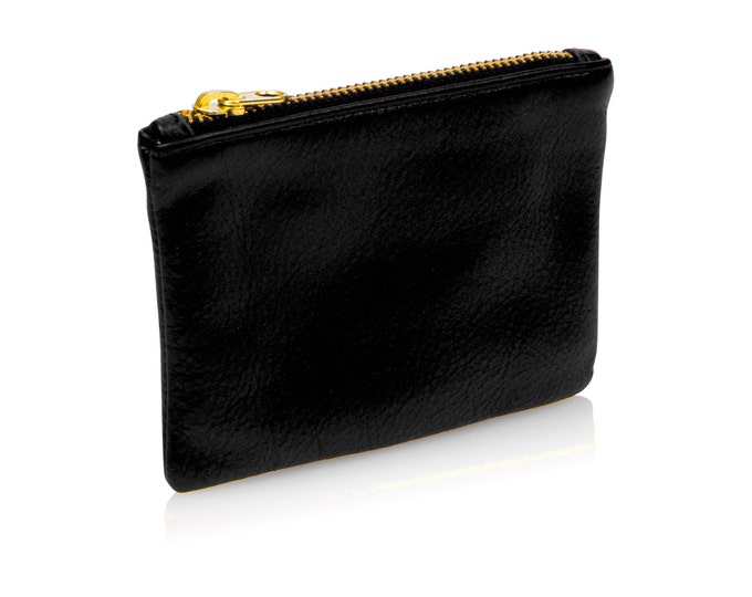 Black leather pouch, leather coin purse, black credit card holder