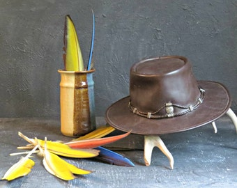 Leather Hat. Leather Southwestern Hat. Large Leather Hat. Minnetonka Leather Hat. Festival Leather. Boho leather Hat. | The Curious Moose
