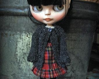 Blythe Doll Knitted Alpaca Cardigan - Dark Charcoal Grey