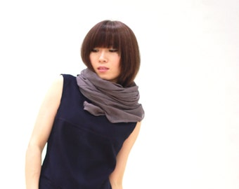 Grey Cotton Linen Large Square Scarf