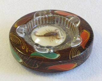 Footed Scorpion Ashtray in Glass Bubble on Hand Painted Wood Stand - Colorful Tobacciana Vintage Home Decor