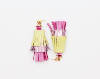 PINEAPPLE 34 / Layered leather statement tassel earrings in blue shades - Ready to ship