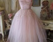 1950's Pink Tulle Prom Dress Silver Metallic Thread With Bolero Jacket SMALL
