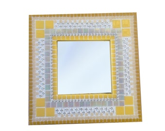 Yellow Accent Mirror / Square Mosaic Mirror