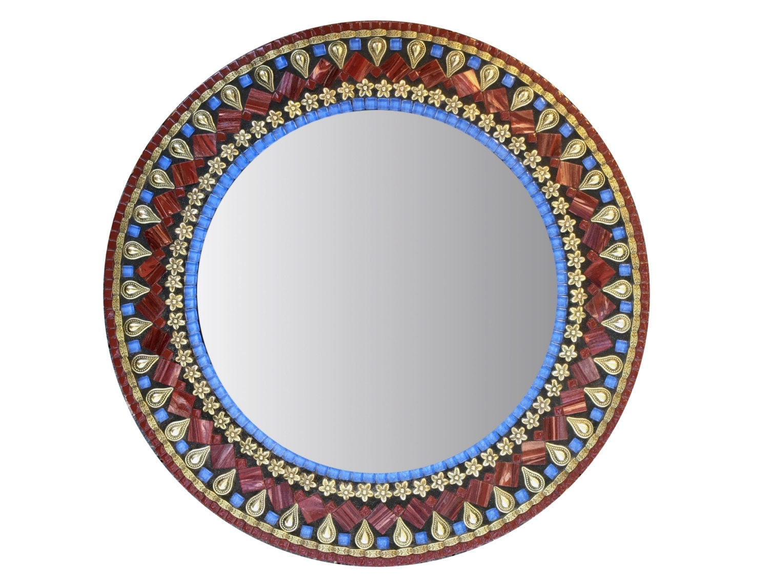 Round wall mirror mosaic mirror gold red blue mixed media for Mosaic mirror