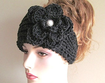 SALE Black Flower Headbands Earwarmers Turban Jeweled Pearl Button Chunky Knit Crochet Fall Winter Accessories  Womens Girls Headwraps
