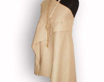 Asymmetrically Wide Linen tunic Summer Blouse beige Top with a brooch