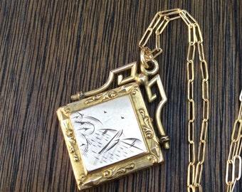 Antique Edwardian 1904 Fob Locket Necklace, Wightman & Hough Co., No Monogram