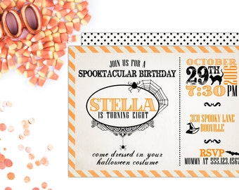 Spooktacular Halloween Birthday Party Invitation | Printable OR Professionally Printed | 5x7