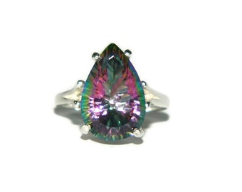 Mystic Topaz Ring, Ring With Large Stone, Ring With Pear Shape Stone,  Rainbow Stone Ring