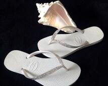Glass Slippers Full Moon Havaianas Slim Ivory Cream Moonlight Swarovski Bling Crystal Flip Flops Size 4-11 Bridal White Wedding Thong Shoes